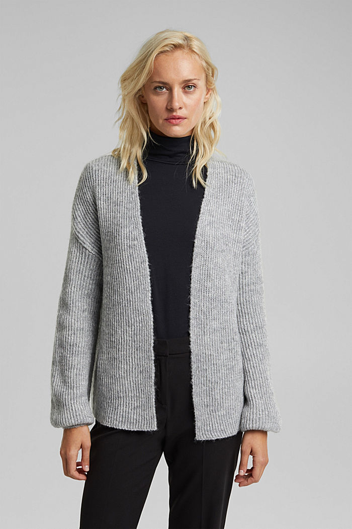 With wool and alpaca: open cardigan