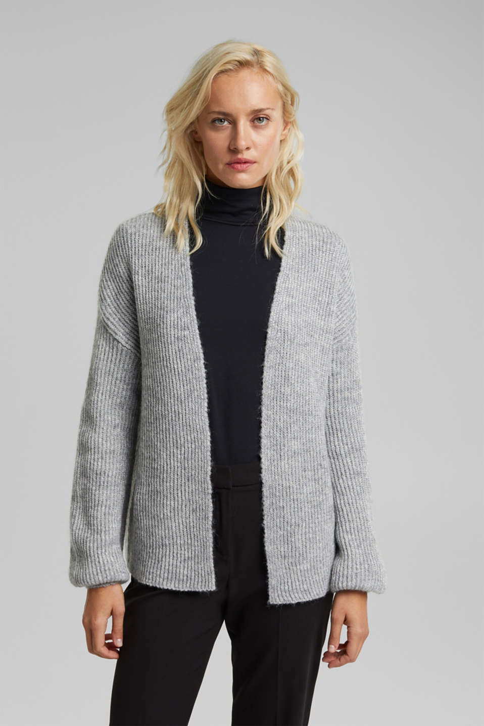 Esprit - With wool and alpaca: open cardigan