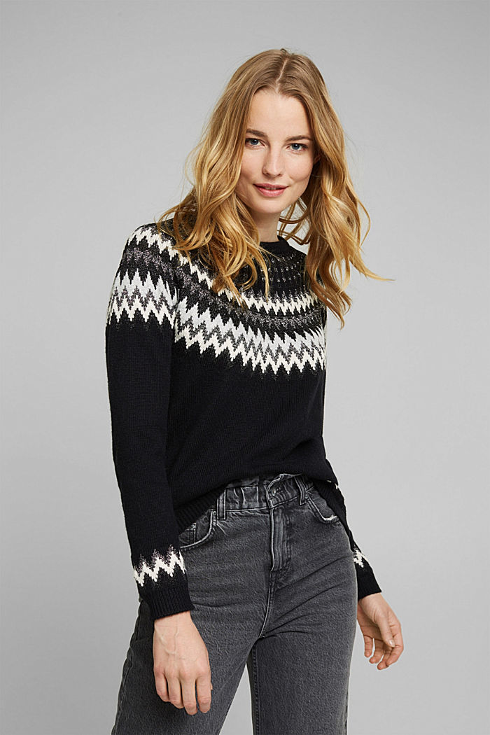 Fair Isle jumper with glitter, BLACK, detail image number 0