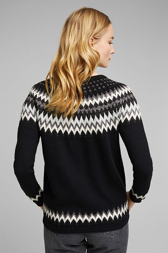 Fair Isle jumper with glitter, BLACK, detail image number 3