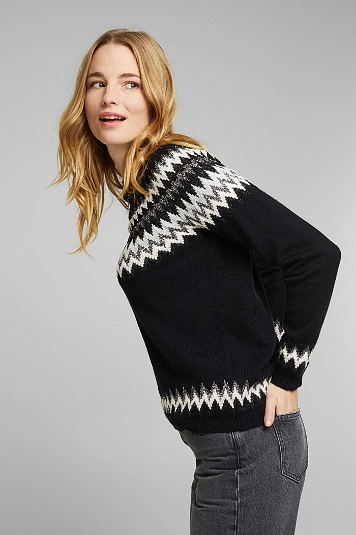 Fair Isle jumper with glitter, BLACK, detail image number 5