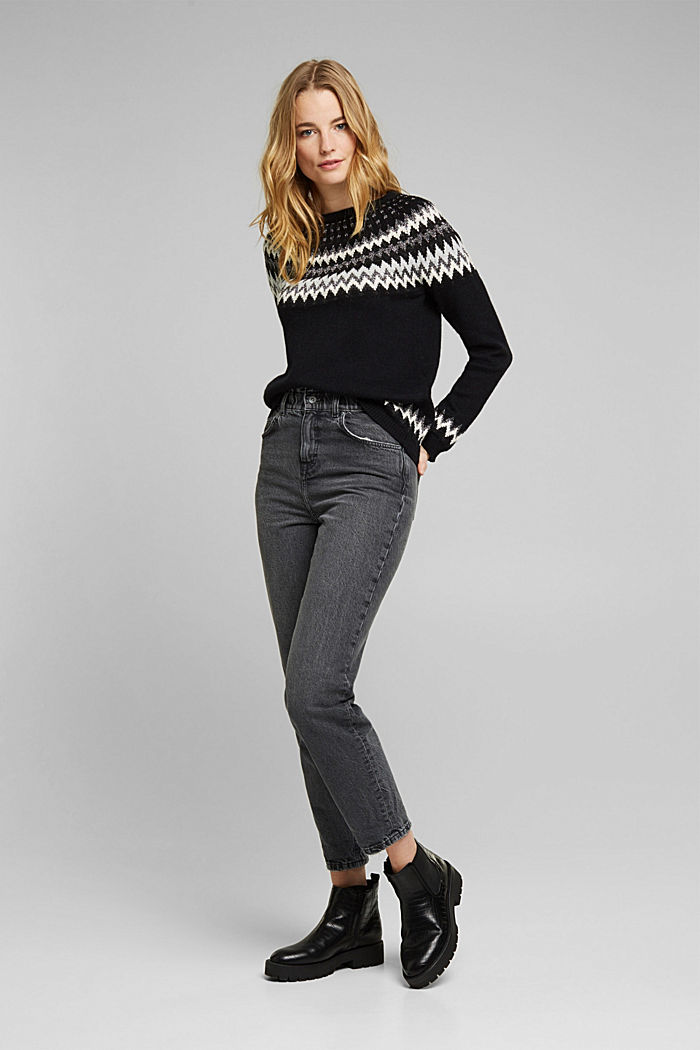 Fair Isle jumper with glitter, BLACK, detail image number 1