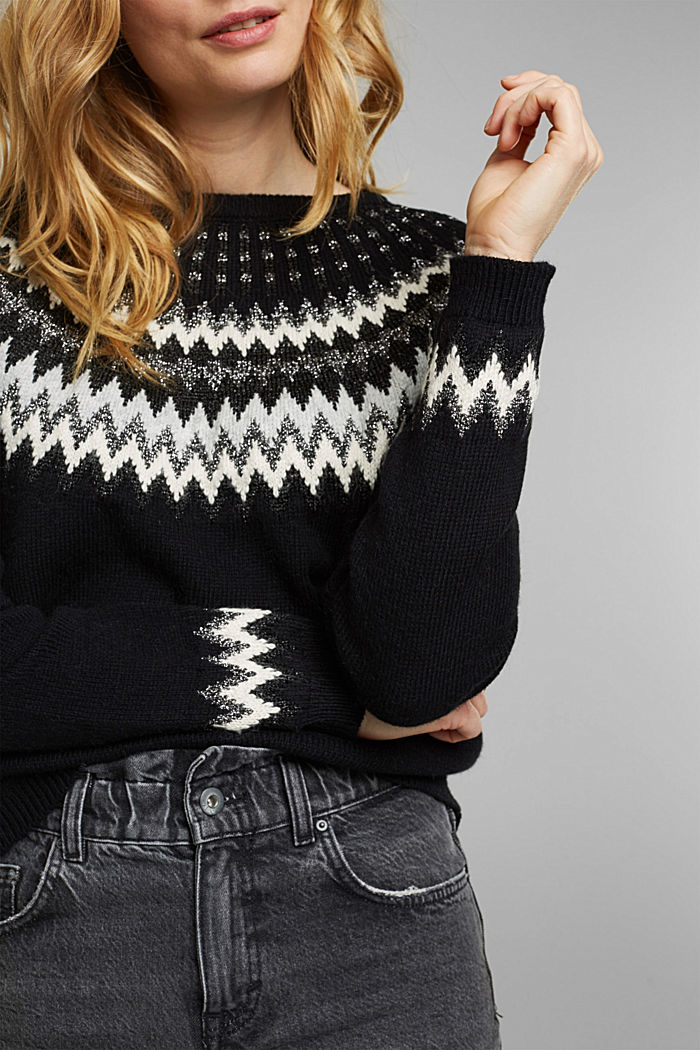 Fair Isle jumper with glitter, BLACK, detail image number 2