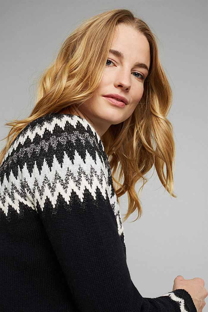 Fair Isle jumper with glitter, BLACK, detail image number 6