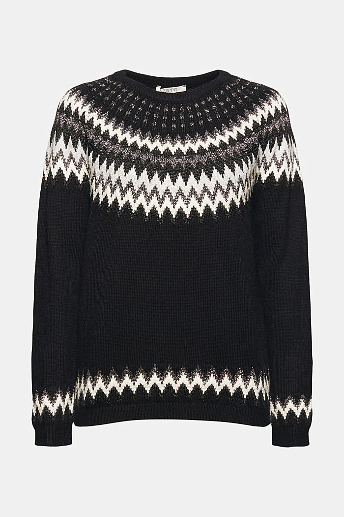 Fair Isle jumper with glitter, BLACK, detail image number 7