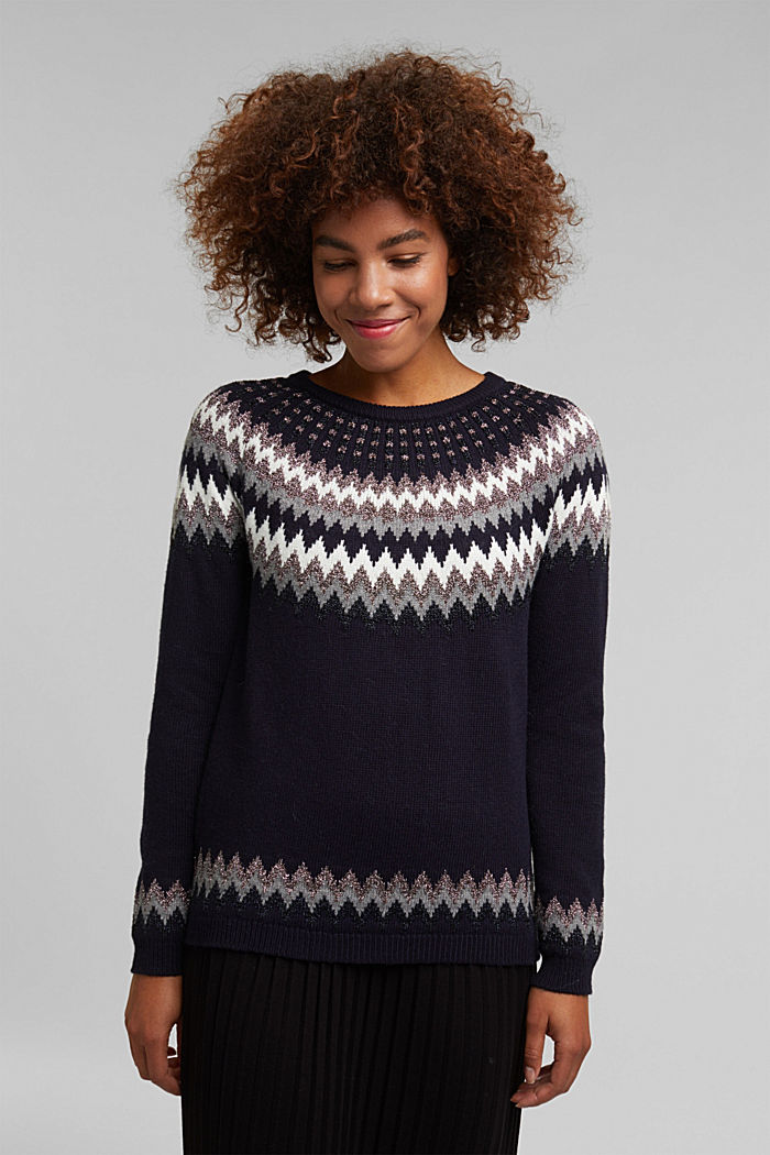 Fair Isle jumper with glitter, NAVY, detail image number 0