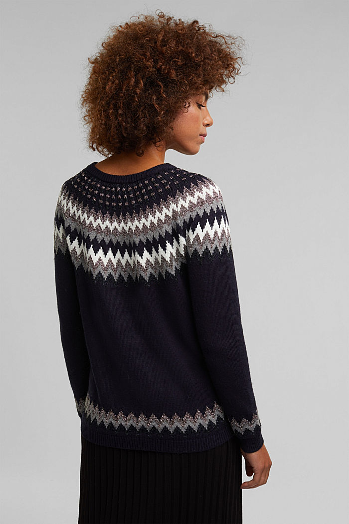 Fair Isle jumper with glitter, NAVY, detail image number 3