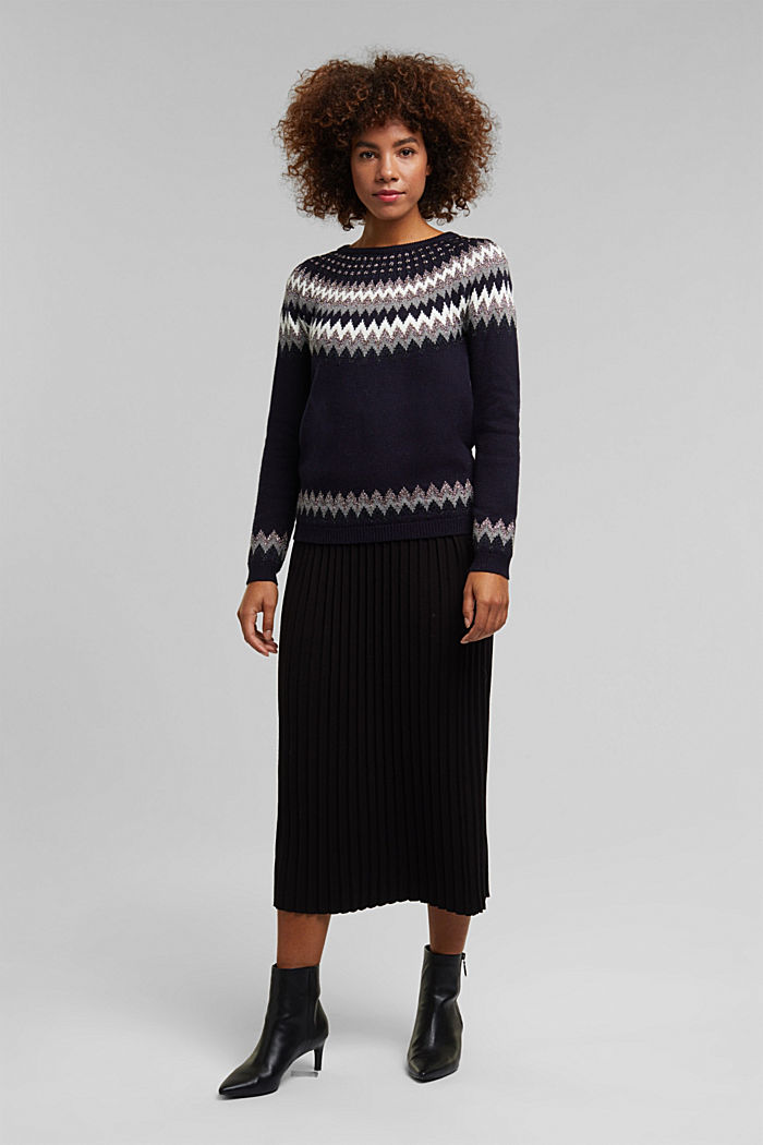 Fair Isle jumper with glitter, NAVY, detail image number 1
