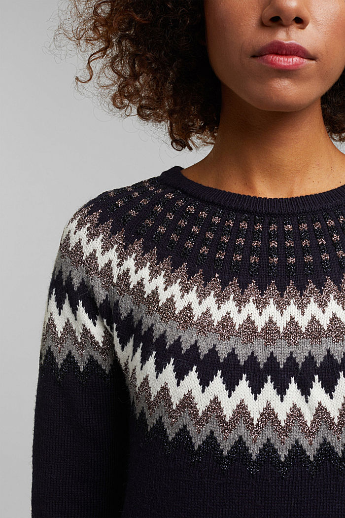 Fair Isle jumper with glitter, NAVY, detail image number 2