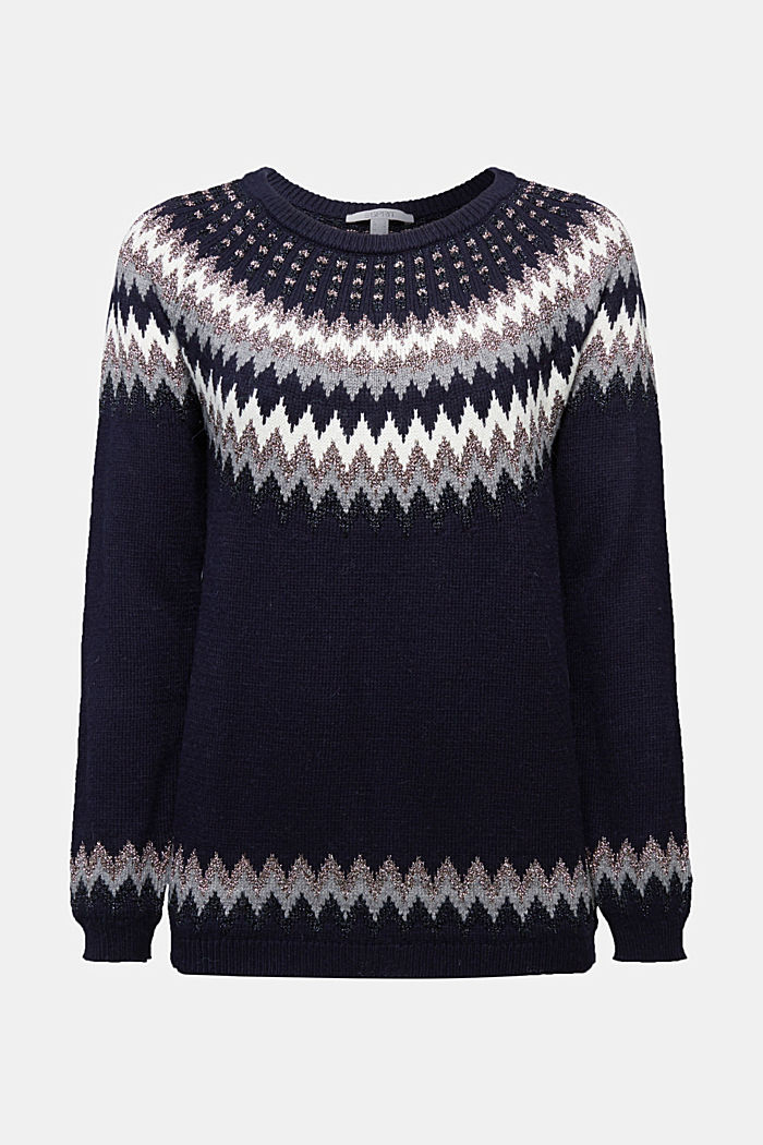 Fair Isle jumper with glitter, NAVY, detail image number 5