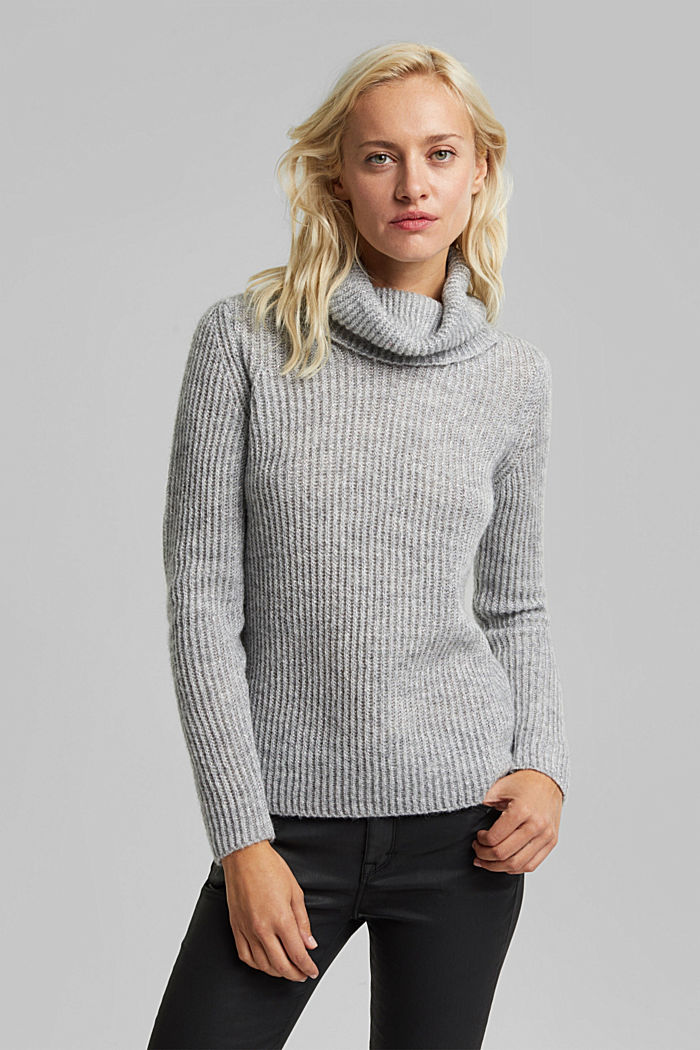 With wool and alpaca: ribbed jumper, LIGHT GREY, detail image number 0