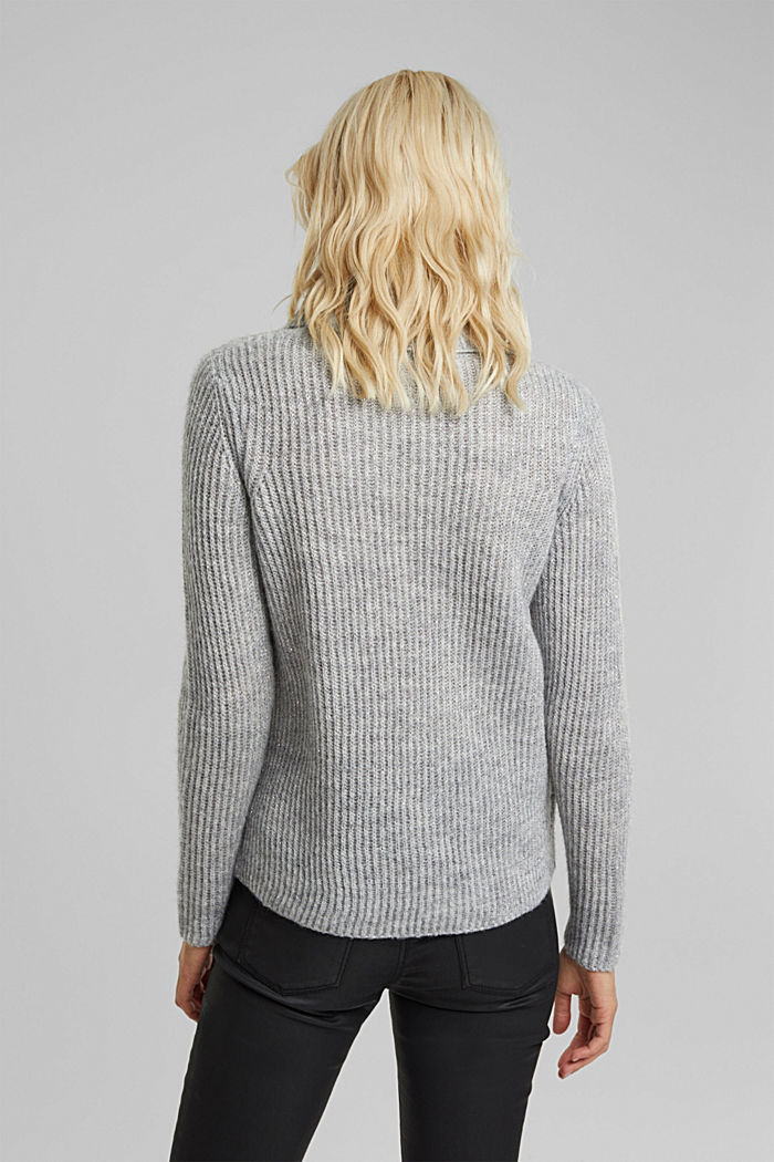 With wool and alpaca: ribbed jumper, LIGHT GREY, detail image number 3