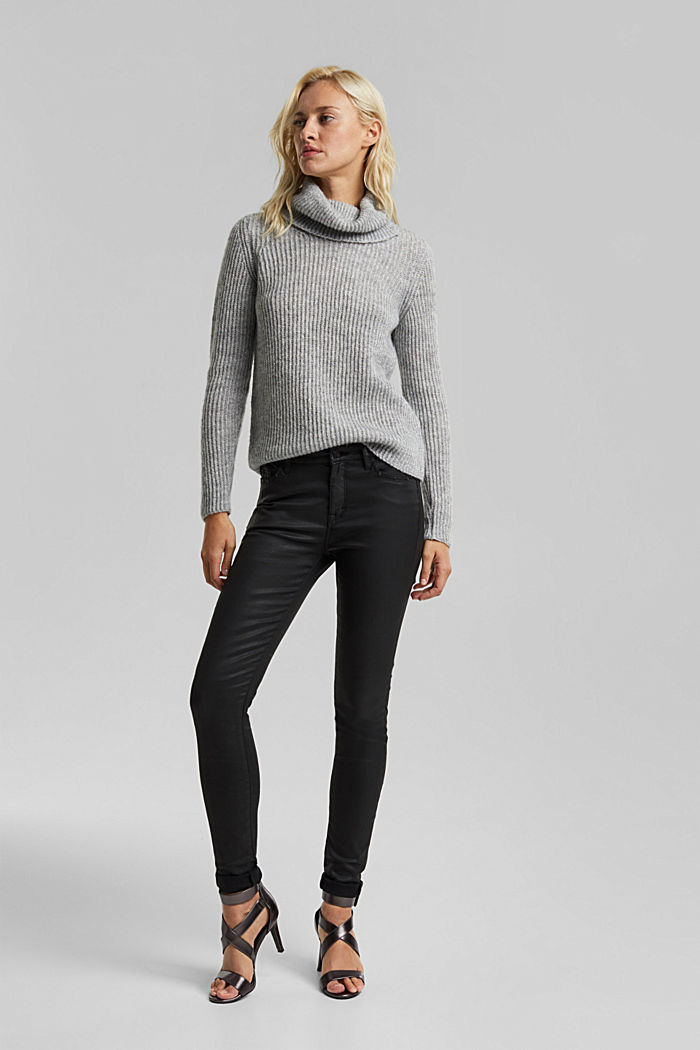 With wool and alpaca: ribbed jumper, LIGHT GREY, detail image number 1
