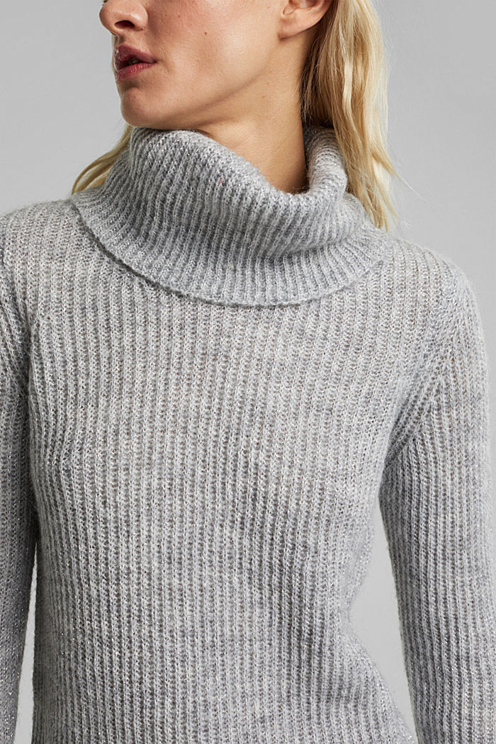 With wool and alpaca: ribbed jumper, LIGHT GREY, detail image number 2