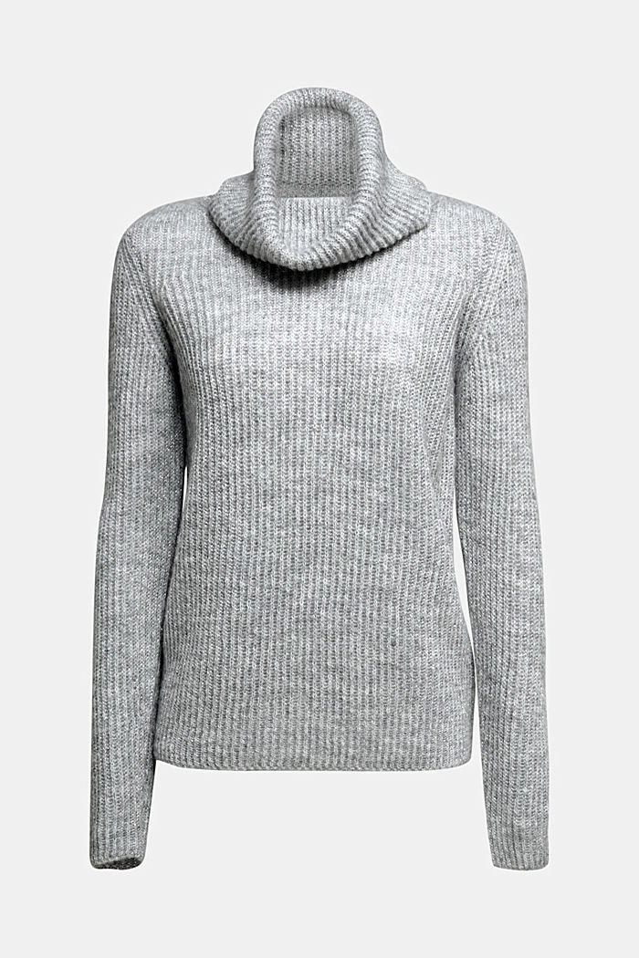 With wool and alpaca: ribbed jumper, LIGHT GREY, detail image number 5