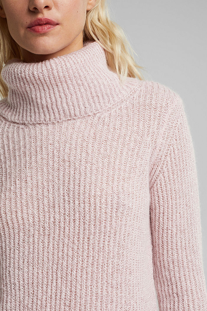 With wool and alpaca: ribbed jumper, NUDE, detail image number 2