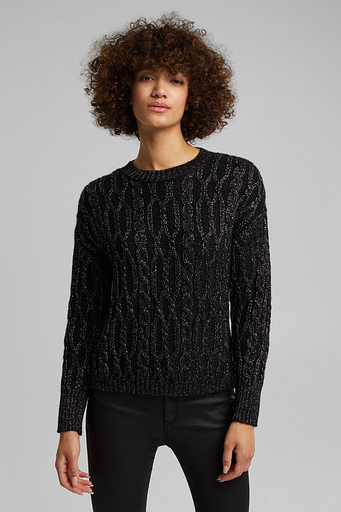 With wool/alpaca: cable knit jumper with glitter