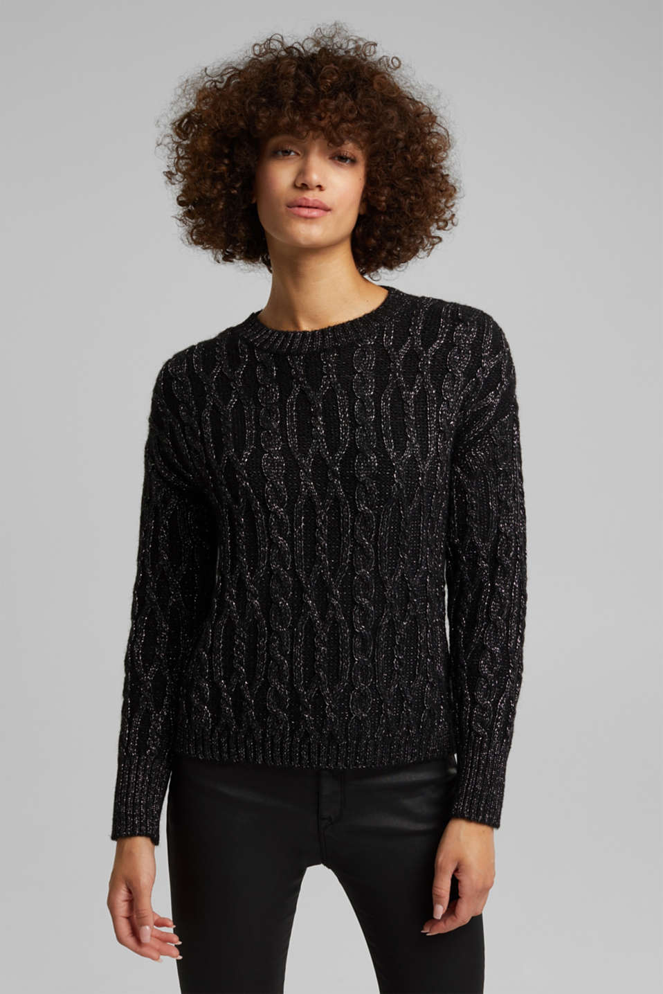 Esprit - With wool/alpaca: cable knit jumper with glitter
