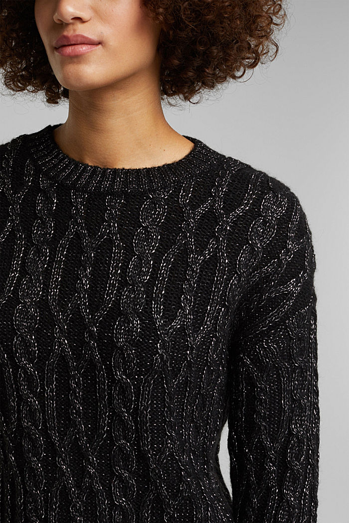 With wool/alpaca: cable knit jumper with glitter, BLACK, detail image number 2