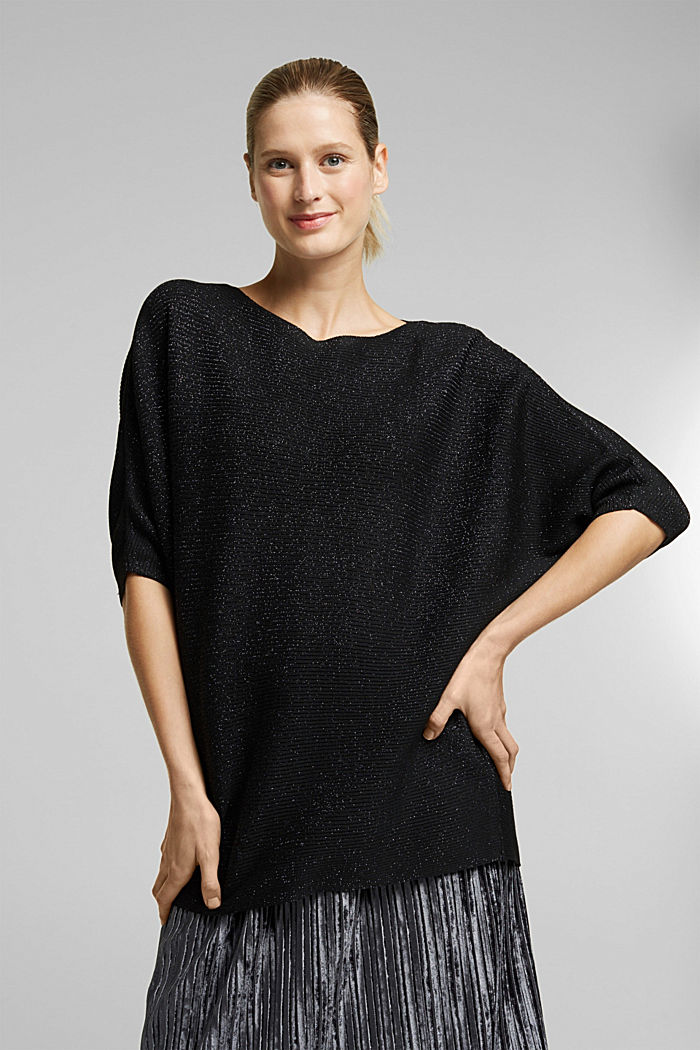 Recycled: glittering knit jumper, BLACK, detail image number 0