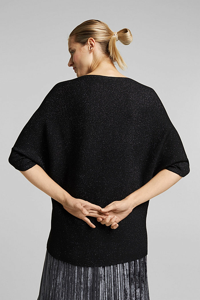 Gerecycled: gebreide trui met glittereffect, BLACK, detail image number 3