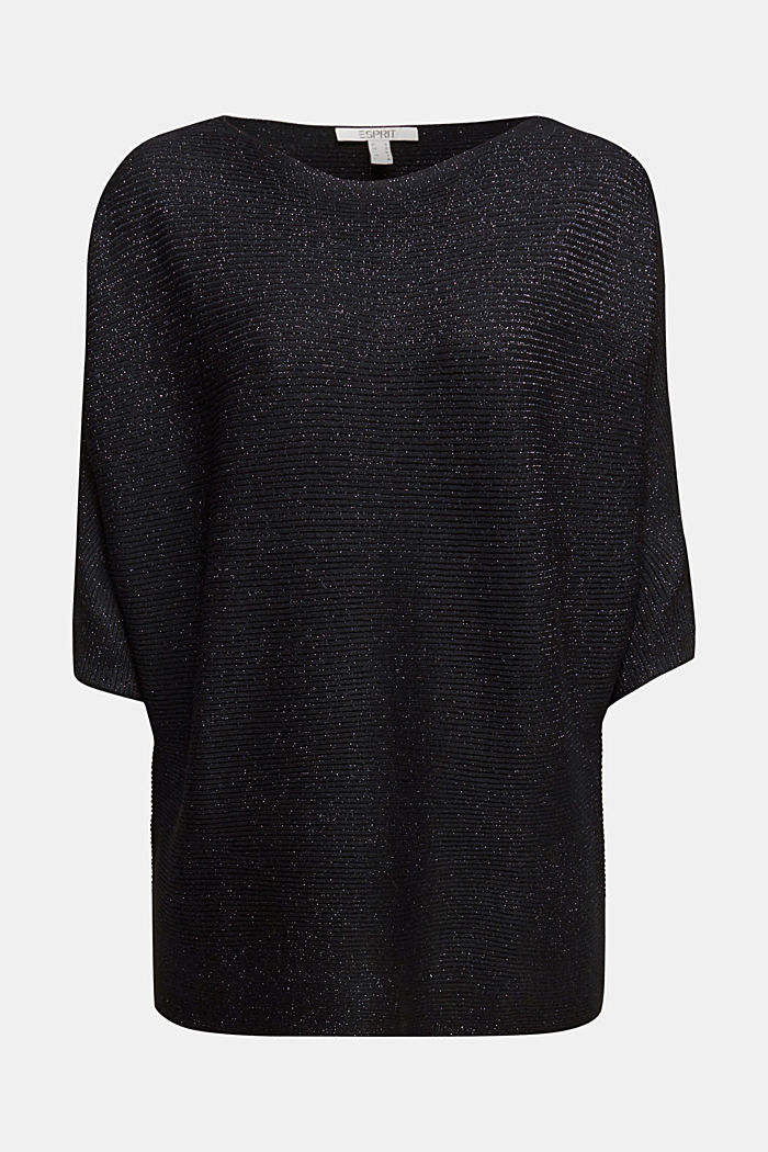 Recycled: glittering knit jumper, BLACK, detail image number 6