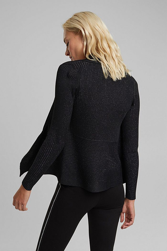 Recycled: glittering knit cardigan, BLACK, detail image number 3