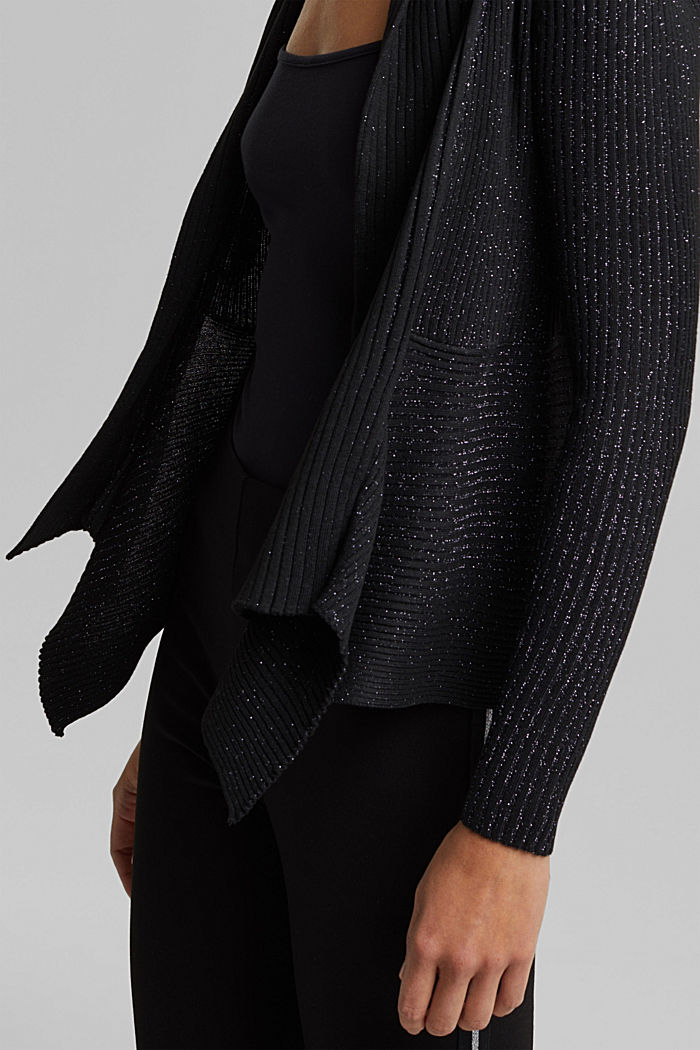 Recycled: glittering knit cardigan, BLACK, detail image number 2