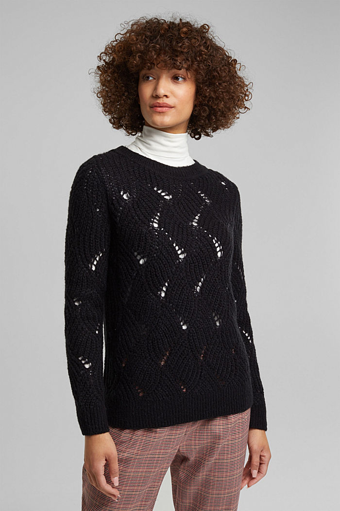 With wool and alpaca: pointelle jumper, BLACK, detail image number 0