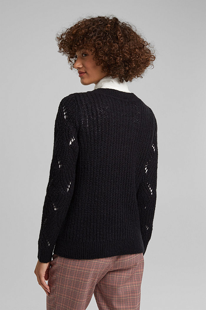 With wool and alpaca: pointelle jumper, BLACK, detail image number 3