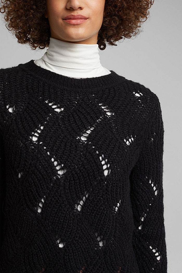 With wool and alpaca: pointelle jumper, BLACK, detail image number 2