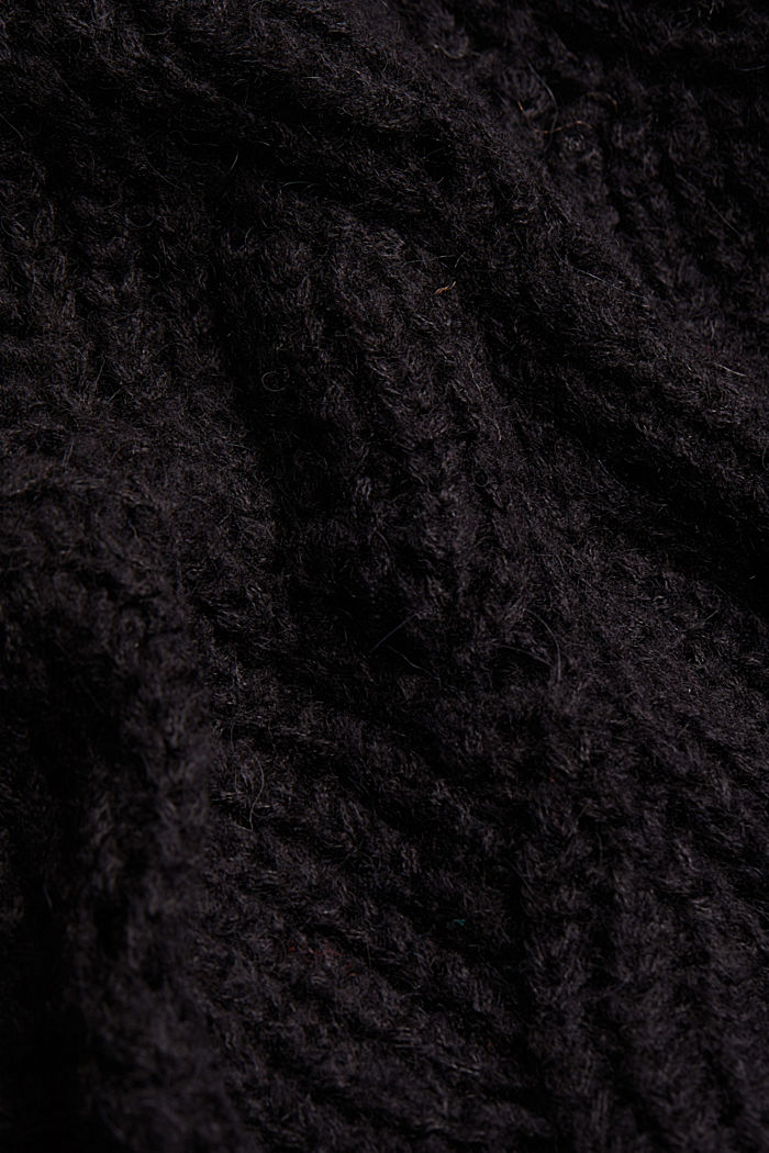 With wool and alpaca: pointelle jumper, BLACK, detail image number 4
