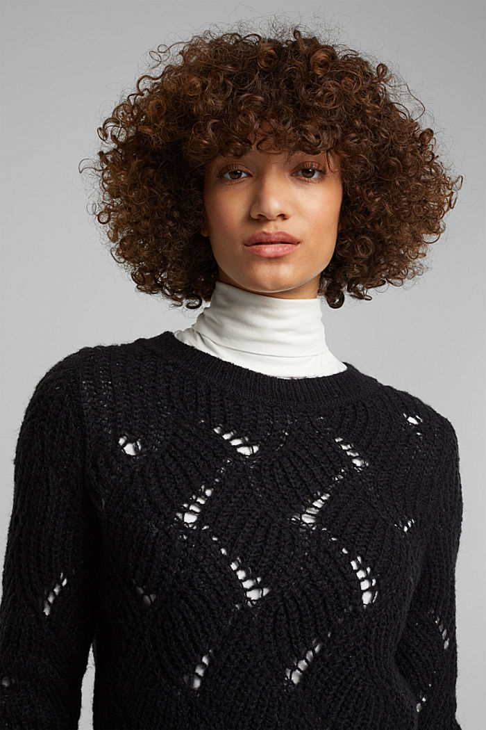With wool and alpaca: pointelle jumper, BLACK, detail image number 6