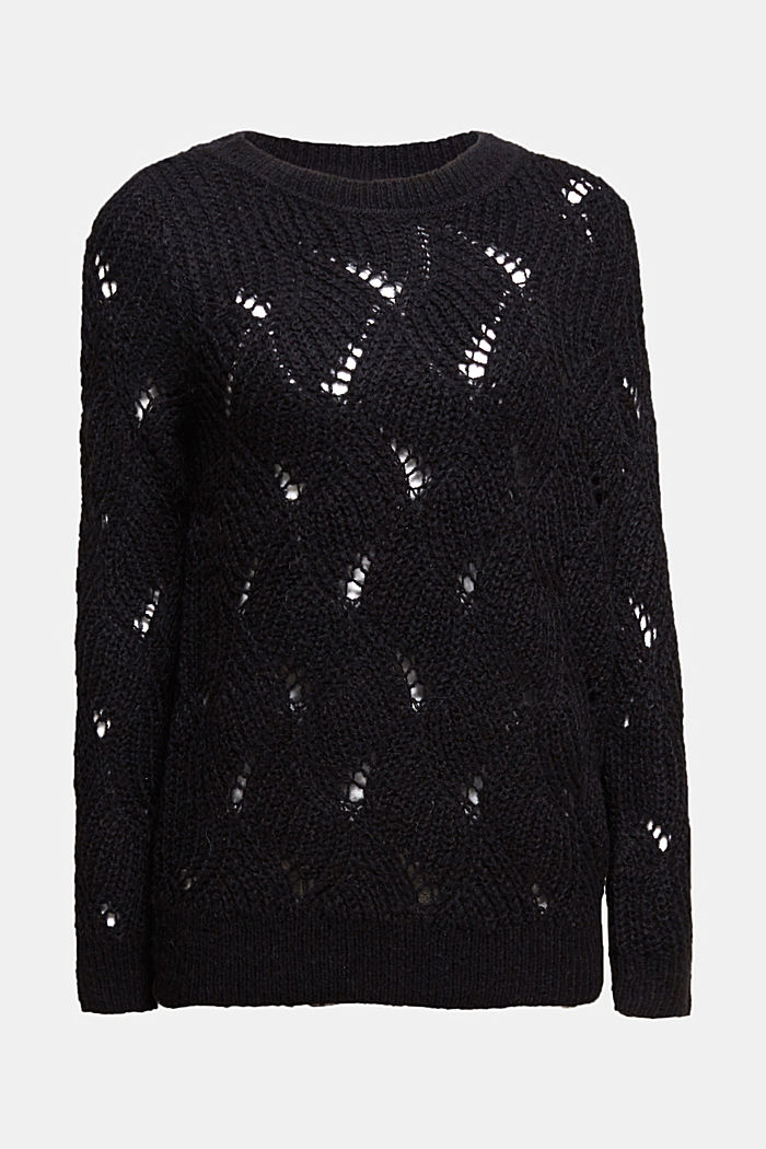 With wool and alpaca: pointelle jumper, BLACK, detail image number 8