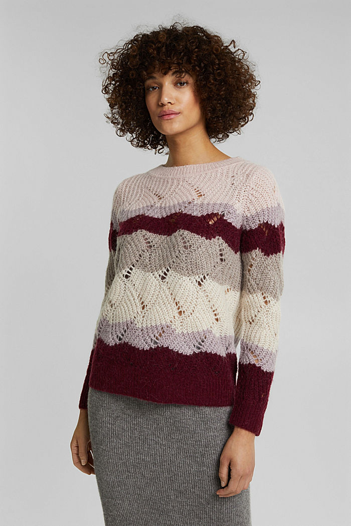 With wool and alpaca: pointelle jumper, MAUVE, detail image number 0