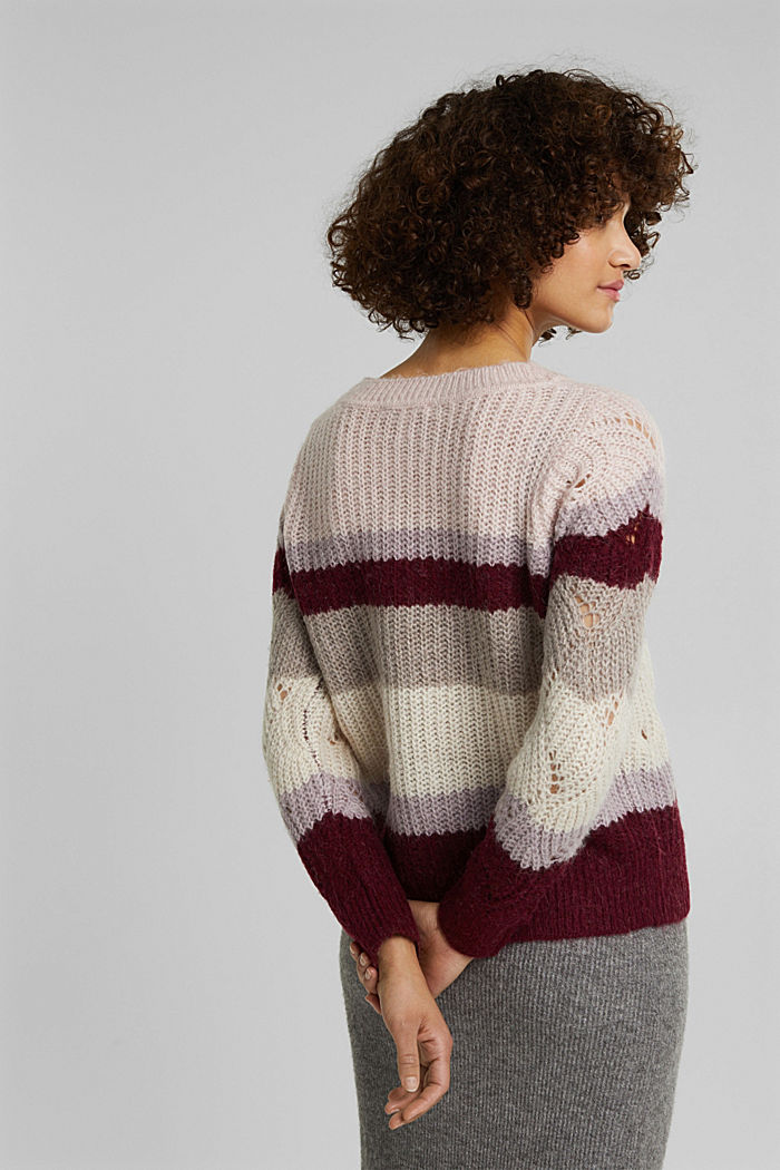 With wool and alpaca: pointelle jumper, MAUVE, detail image number 3
