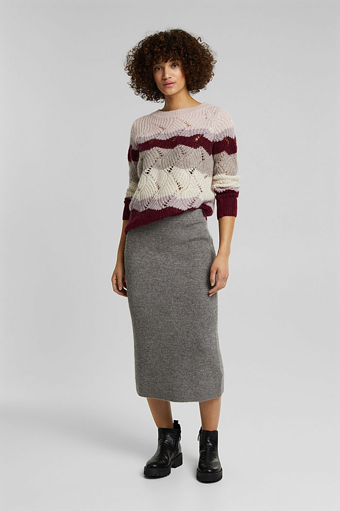 With wool and alpaca: pointelle jumper, MAUVE, detail image number 5
