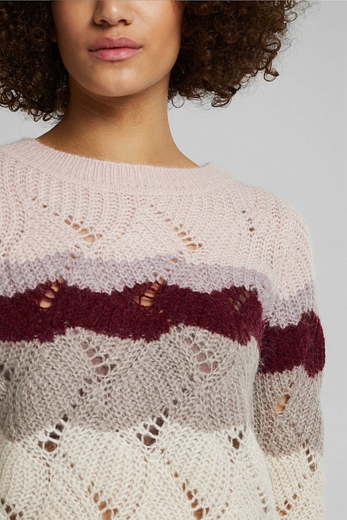 With wool and alpaca: pointelle jumper, MAUVE, detail image number 2