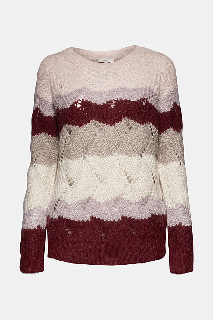 With wool and alpaca: pointelle jumper, MAUVE, detail image number 6
