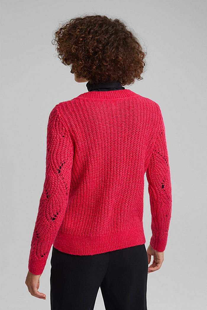 With wool and alpaca: pointelle jumper, PINK FUCHSIA, detail image number 3