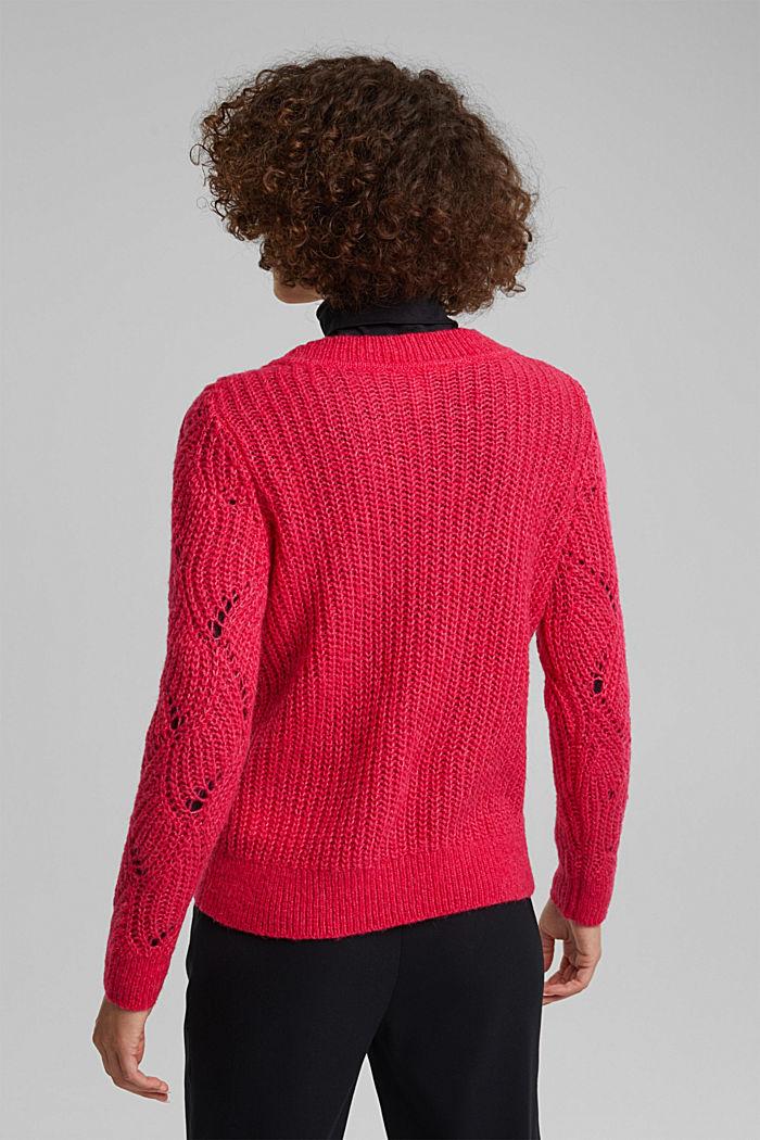 À teneur en laine et alpaga: le pull-over en maille pointelle, PINK FUCHSIA, detail image number 3
