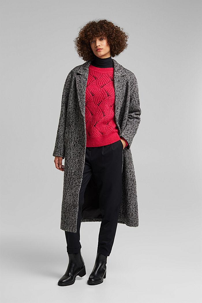 À teneur en laine et alpaga: le pull-over en maille pointelle, PINK FUCHSIA, detail image number 1