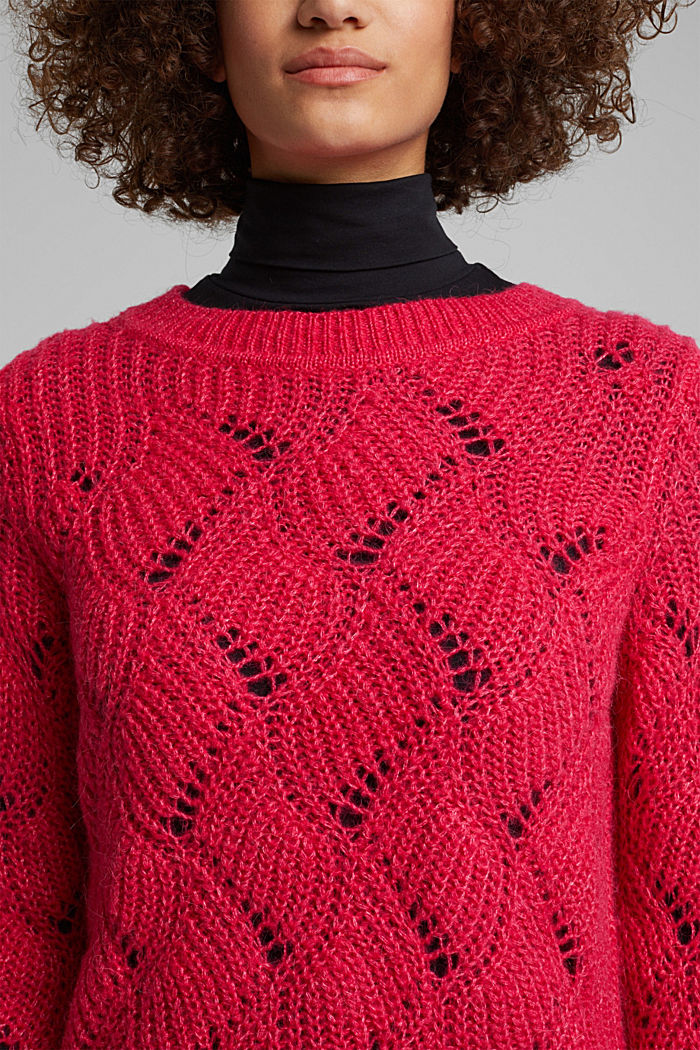 With wool and alpaca: pointelle jumper, PINK FUCHSIA, detail image number 2