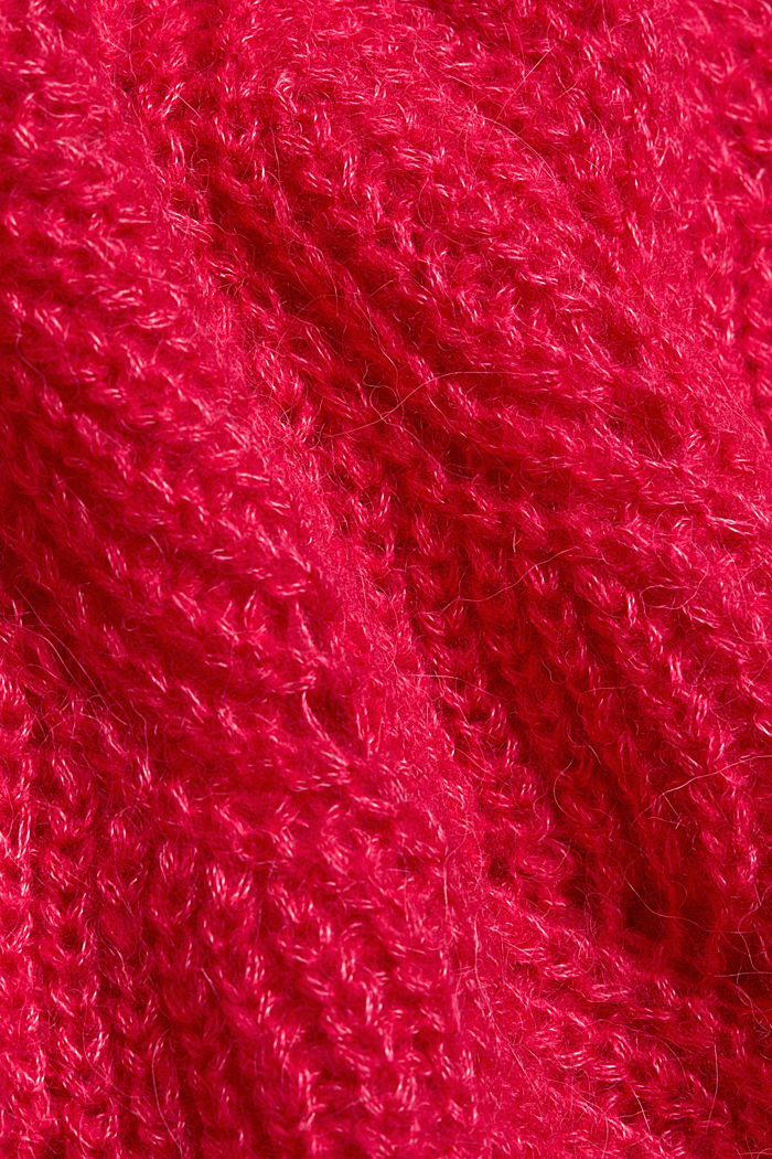 With wool and alpaca: pointelle jumper, PINK FUCHSIA, detail image number 4