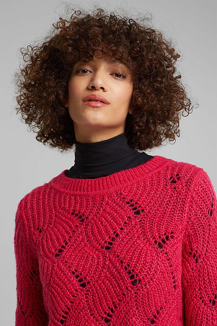 À teneur en laine et alpaga: le pull-over en maille pointelle, PINK FUCHSIA, detail image number 5