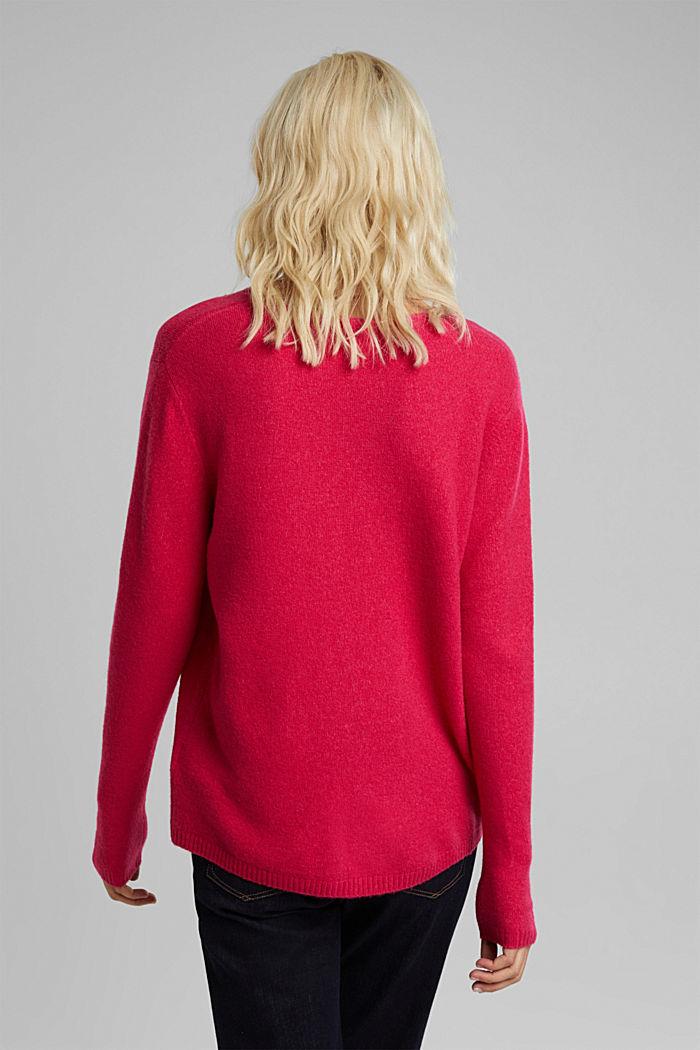 Wool blend: Jumper with a V-neckline, PINK FUCHSIA, detail image number 3