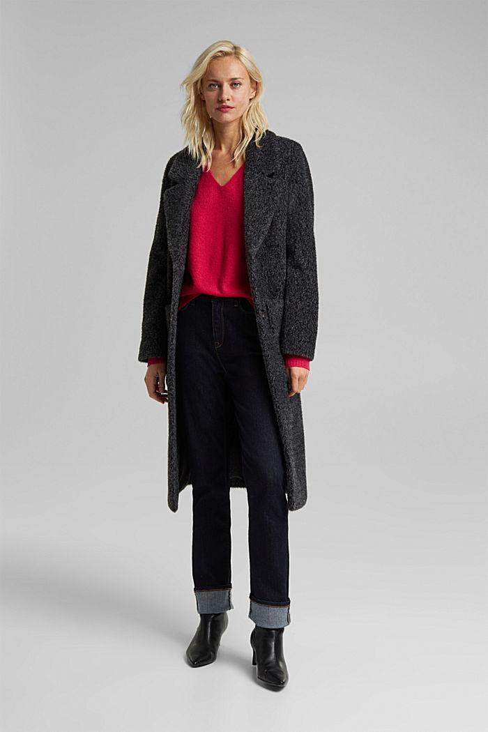 Wool blend: Jumper with a V-neckline, PINK FUCHSIA, detail image number 1