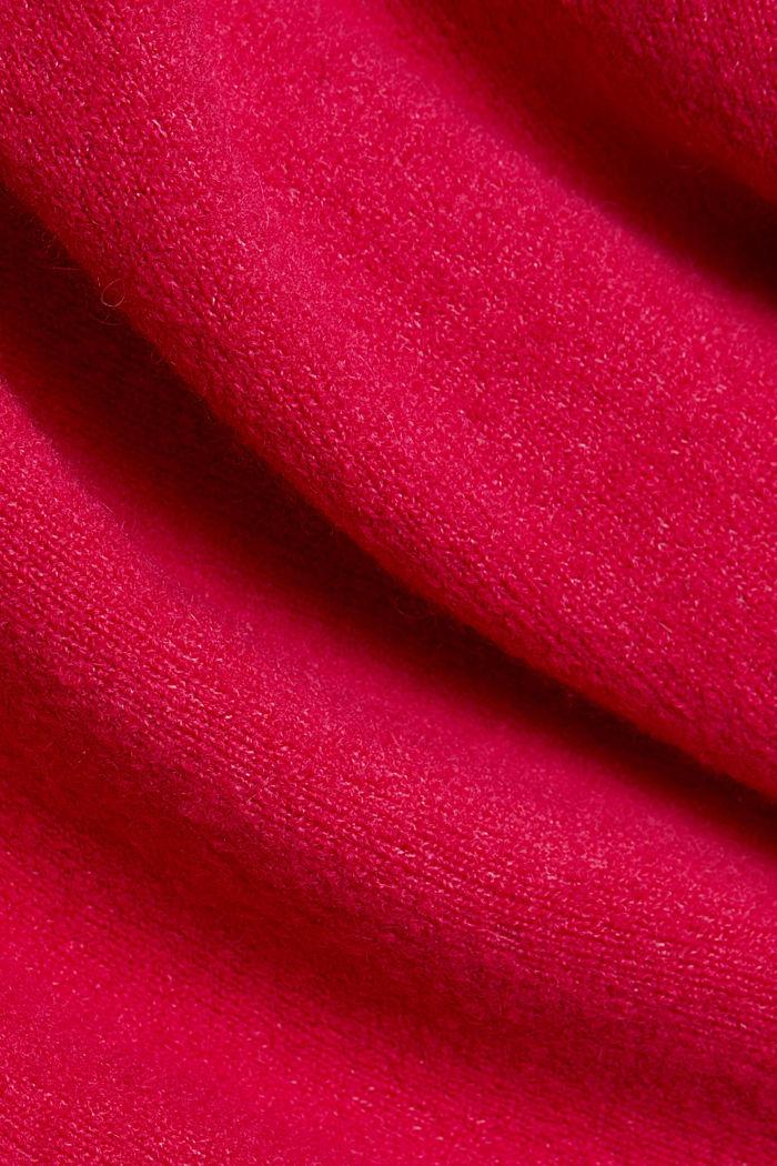 Wool blend: Jumper with a V-neckline, PINK FUCHSIA, detail image number 4