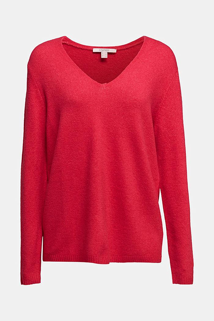 Wool blend: Jumper with a V-neckline, PINK FUCHSIA, detail image number 5