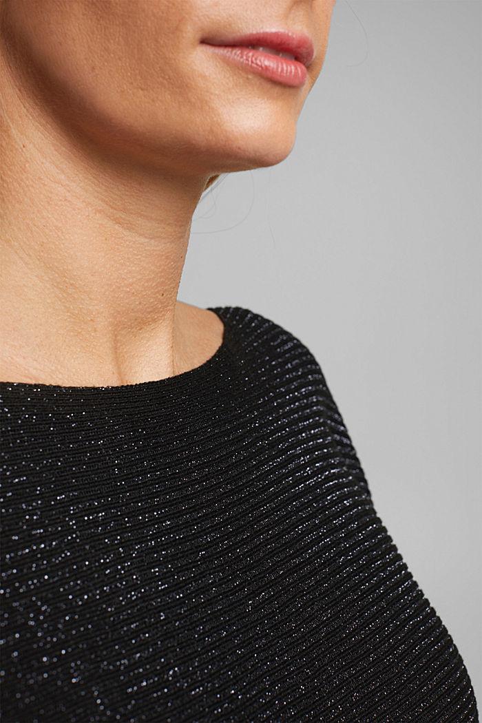 Glittering ribbed jumper, BLACK, detail image number 2